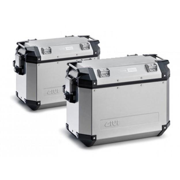 Stranski kovčki GIVI TREKKER OUTBACK aluminijasti srebrni 37L - PAR (L+D)